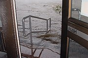 Mobile, Alabama: Downtown flood waters came up Mobile's Federal Courthouse steps 29-Aug-2005.