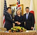 Katsuya Okada Hillary Rodham Clinton and Stephen Smith 20090921.jpg