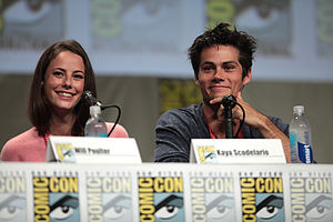 The Maze Runner (film) - Kaya Scodelario and Dylan O'Brien at a panel for the film at San Diego Comic-Con International in July 2014