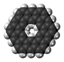 Space-filling model of the kekulene molecule