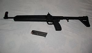 A Kel-Tec Sub 2000 9mm, with 15rd Beretta maga...