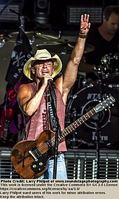 A man wearing a cowboy hat singing into a microphone. He has a guitar on a strap around his neck and is holding one hand high in the air with three fingers extended.