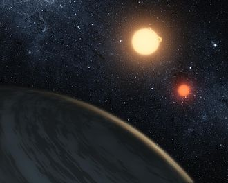 Physics and Star Wars - A NASA depiction of a theoretical viewpoint from Kepler-16b's orbit of its two suns.