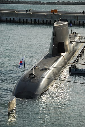 Type 214 submarine - ROKS Son Won-il (SS 072), a Type 214 submarine, at Busan Naval Base, Republic of Korea