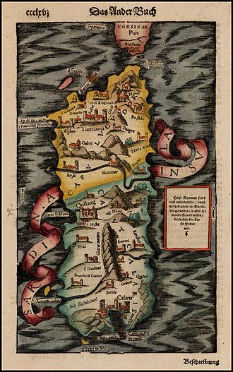 Kingdom of Sardinia - Kingdom of Sardinia 16th-century map