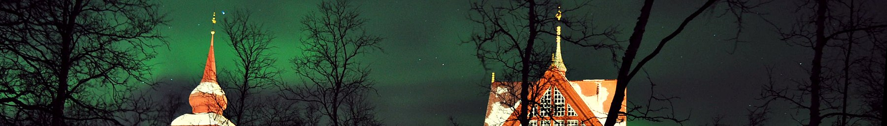 Kiruna banner Northern lights over church.jpg