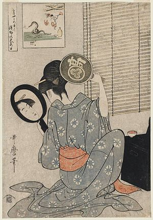 Utamaro - Takashima Ohisa using two mirrors to observe her coiffure night of the Asakusa Marketing Festival