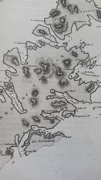Kodiak Island - Location of Three Saints Bay and St. Paul on Kodiak in 1805