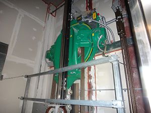 Hoist (device) - Hoist atop a Kone EcoDisc equipped elevator