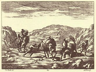 Bora (wind) - The bora on the Karst Plateau, depicted in  Valvasor's The Glory of the Duchy of Carniola, 17th century