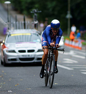 Individual time trial - Kristin Armstrong riding to win the gold medal at the time trial at the 2012 Summer Olympics