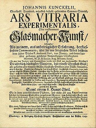 Johann von Löwenstern-Kunckel - Ars Vitraria Experimentalis