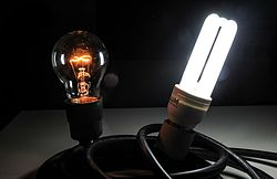 electric light wikipediaincandescent (left) and fluorescent (right) light bulbs turned on