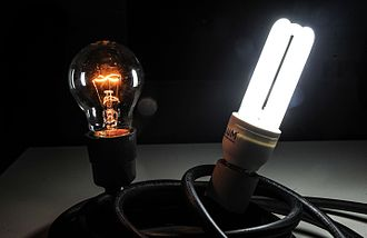Electric light - Incandescent (left) and fluorescent (right) light bulbs turned on