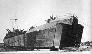 USS LST-12 - Image: LST 12 beached at Barletta Italy