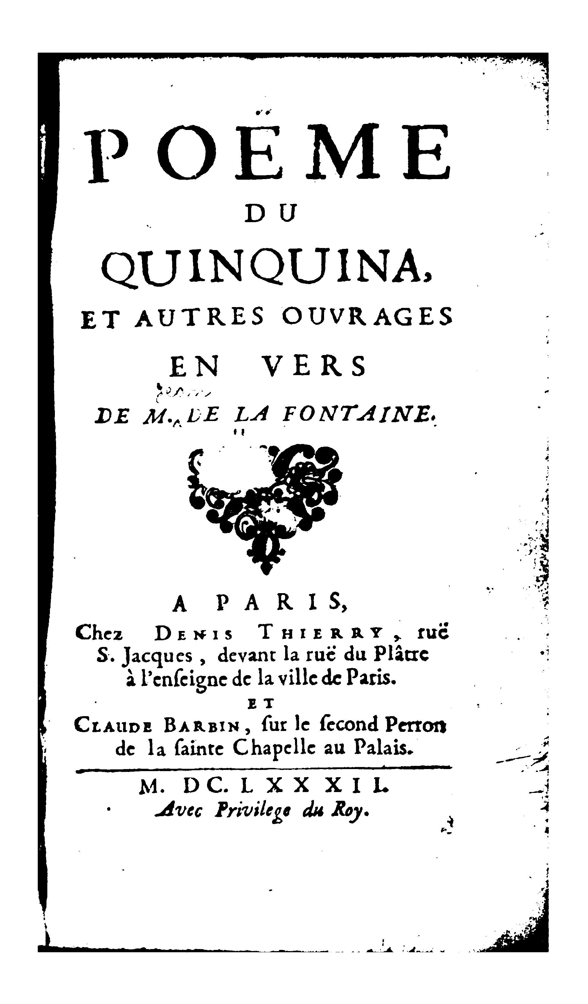 Filela Fontaine Poème Du Quinquina Et Autres Ouvrages En