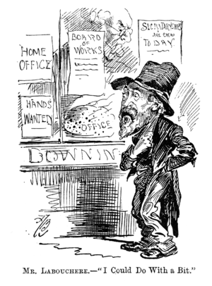 Henry Labouchère - 1892 cartoon of Labouchère as a hungry tramp; Gladstone eyes him from within the parliamentary bakery.
