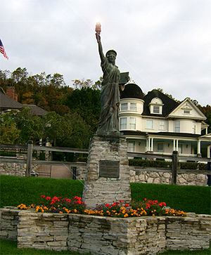 Strengthen the Arm of Liberty - This Statue of Liberty replica, donated by the Boy Scouts of America (BSA), is located at Haldimand Bay, Mackinac Island, Michigan.