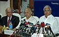 Lalu Prasad and the Union Power Minister, Shri Sushil Kumar Shinde briefing the media after the Joint Venture Agreement between Railways and National Thermal Power Corporation (NTPC) for setting up Bhartiya Rail Bijlee.jpg