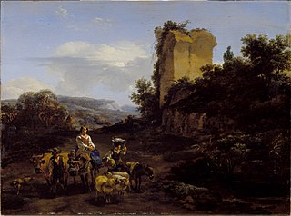 Landscape with Ruins and Travelers