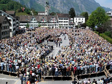 The Landsgemeinde is an old form of direct democracy, still in practice in two cantons. Landsgemeinde Glarus 2006.jpg