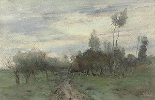 Route de campagne avec vaches au crépuscule