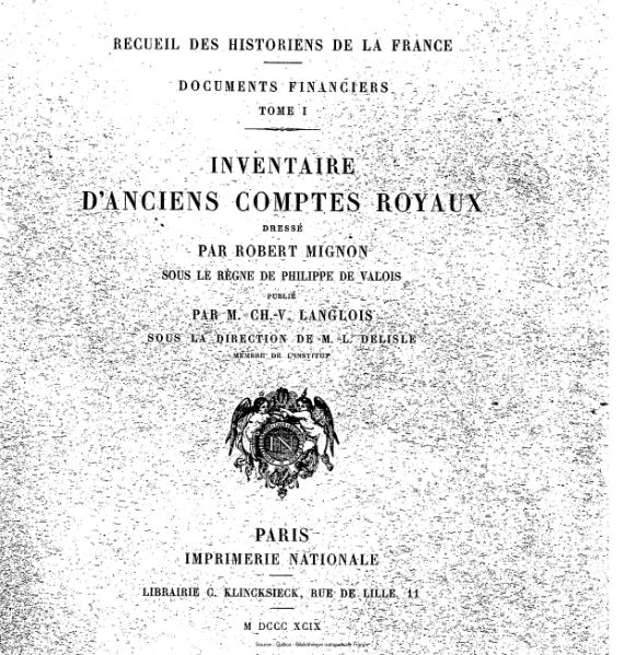 File:Langlois - Mignon - Documents financiers, tome 1 - Inventaire d'anciens comptes royaux.djvu