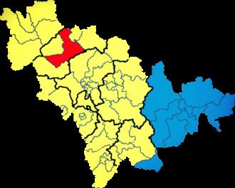 Jilin - Languages spoken in Jilin: yellow: Mandarin; blue: Korean; red: Mongolian