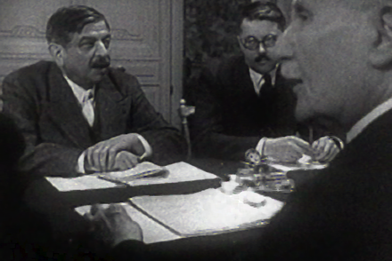 Laval and Petain in Frank Capra's documentary film Divide and Conquer (1943) Laval-shot0038.png