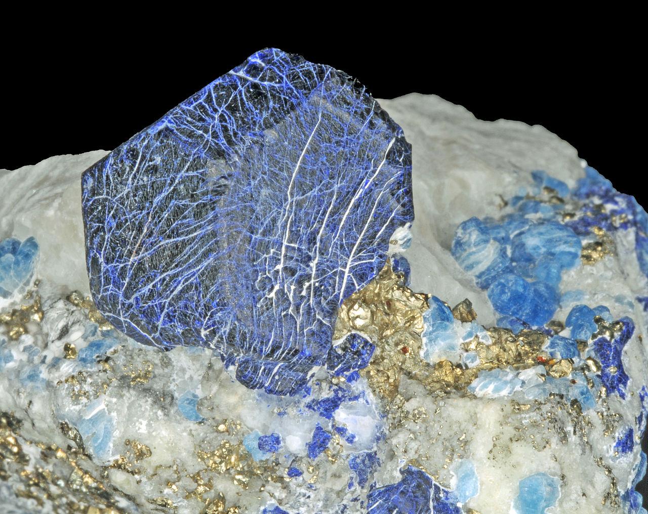 File:Lazurite, afghanite et pyrite sur calcite Sar-e-Sang ...