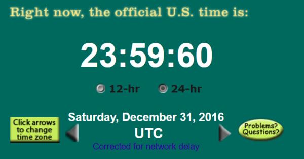 Screenshot of the UTC clock from time .gov during the leap second on December 31, 2016. In the U.S., the leap second took place at 18:59:60 local time on the East Coast, at 15:59:60 local time on the West Coast, and at 13:59:60 local time in Hawaii. Leapsecond2016.png