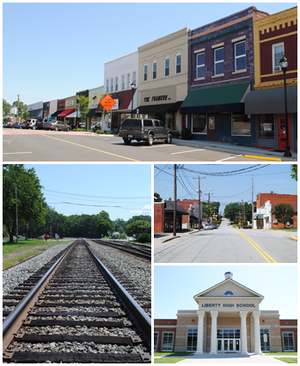 Liberty, South Carolina - Top, left to right: Downtown Liberty, railroad, W. Front Street, Liberty High School