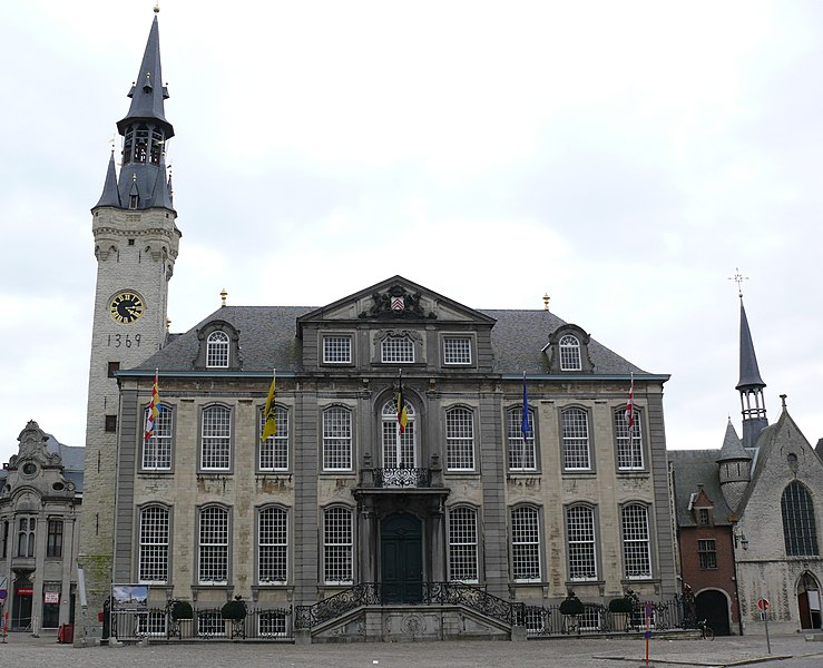 The 14th century city hall with belfry in Lier, Belgium.