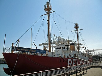 United States lightship Relief (WLV-605) - Photo of the vessel taken from a walkway northeast of it.