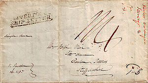 "Franking - An 1832 stampless single-sheet ""Liverpool Ship Letter"" pen franked ""Paid 5"" by a U.S. postal clerk in Philadelphia, PA"