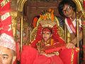 Living Godess Kumari in Chariot during Indra Jatra festival in Kathmandu, Nepal.jpg