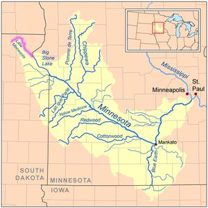 Little Minnesota River - Map of the Minnesota River watershed with the Little Minnesota River highlighted