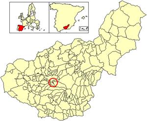 Cájar - Image: Location Cájar