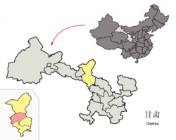 Liangzhou District (red) in Wuwei City (yellow) and Gansu