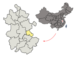 Location of Ma'anshan City jurisdiction in Anhui