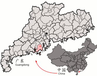 Taishan - Image: Location of Taishan within Guangdong (China)