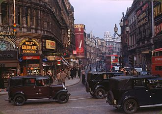 West End of London - Shaftesbury Avenue from Piccadilly Circus in 1949