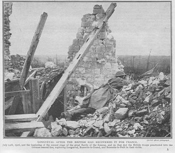 Monochrome image on newsprint type paper. Destroyed house with one remaining wall and visible roof timbers. Image of soldier dressed in British helmet and great-coat and rifle lying prone, peering over rubble towards the top right of piture.