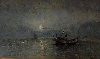 Louis Artan - Stranded Boats at Night