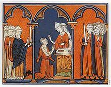 Enluminure montrant Louis agenouillé, en position de prière, devant un évêque qui le oint. Les prélat du royaume sont présents à gauche, les seigneurs à droite.