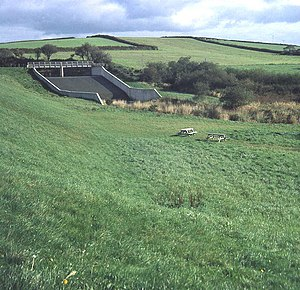 Lower Tamar Lake - The spillway (in 1985).