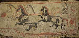 Quadriga - Image: Lucanian fresco tomb painting depicting a quadriga, 340 330 BC, Paestum Archaeological Museum (14416577639)