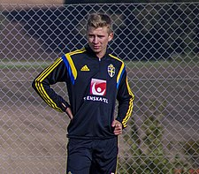 Ludvig Fritzson under en træning med Sveriges U20-landshold.