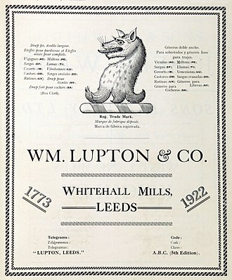 Lupton family - Lupton crest from 1922: Wolf's head and  neck erased sable, as seen in arms granted to  ancestor Roger Lupton