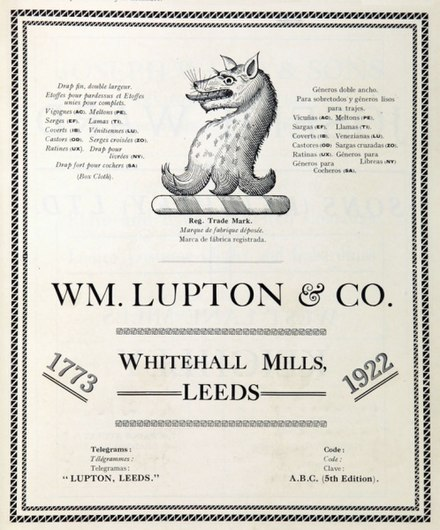 "Lupton crest displayed in  1922, recorded by Sir Bernard Burke in 1844 as a ""Wolf's head and neck erased sable"" from  the  arms granted to ancestor Roger Lupton by Henry VII[1]"